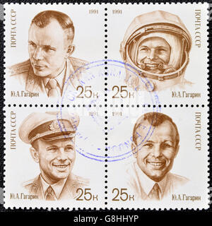 USSR- CIRCA 1991: A stamp printed in Russia shows cosmonaut Yuri Gagarin, circa 1991 - Stock Photo
