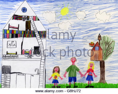 Childs drawing of family and house - Stock Photo