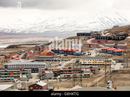 Multicolored houses pn Adventfjorden in the Arctic village of Longyearbyen, largest town in the Svalbard Archipelago - Stock Photo