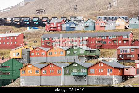 Multicolored houses in the Arctic village of Longyearbyen, largest town in the Svalbard Archipelago - Stock Photo