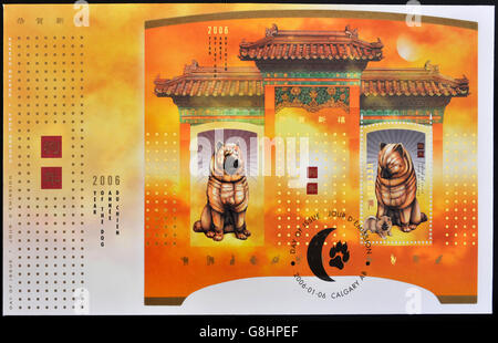 CANADA - CIRCA 2006: A stamp printed in Canada celebrates the Chinese Year of the dog, circa 2006 - Stock Photo