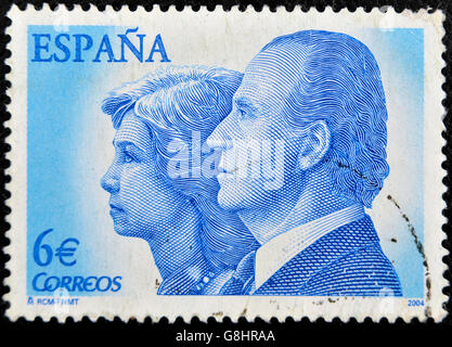 SPAIN - CIRCA 2004: A stamp printed in Spain shows the kings of Spain, Juan Carlos I and Sofia of Greece, circa - Stock Photo