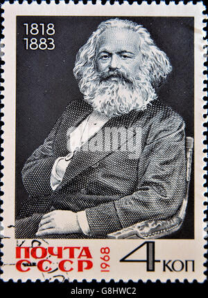 USSR - CIRCA 1968 A stamp printed in Russia shows Karl Marx portrait, circa 1968 - Stock Photo