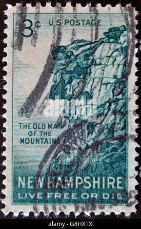 UNITED STATES OF AMERICA - CIRCA 1955: stamp printed in USA, shows Great Stone Face, New Hampshire, live free or - Stock Photo