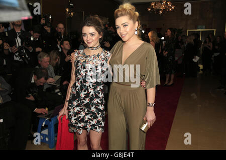 Maisie Williams and Florence Pugh attending the London Critics' Circle Film Awards at the May Fair Hotel, Central London. PRESS ASSOCIATION Photo. Picture date: Sunday 17th January, 2016. See PA story SHOWBIZ Critics. Photo credit should read: Jonathan Brady/PA Wire.