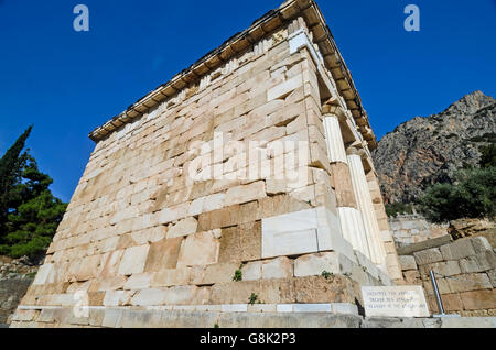 Treasury of the Athenians at Archaeological Site of Delphi Greece - Stock Photo