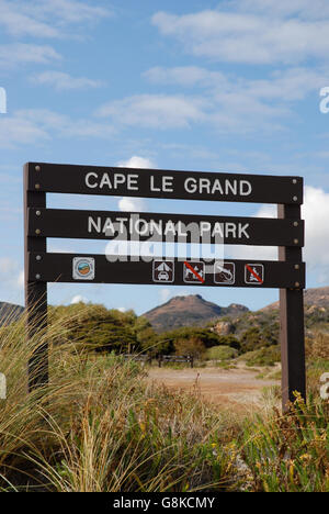 Sign in Cape Le Grand National Park, near Esperance, Western Asutralia - Stock Photo
