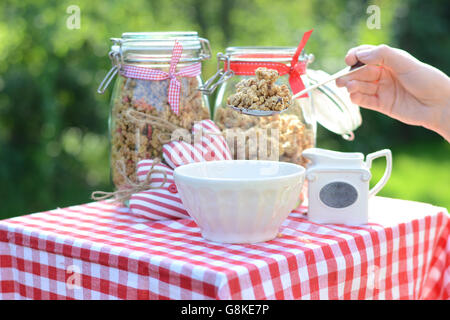 Tasty and healthy breakfast in the summer garden - Stock Photo