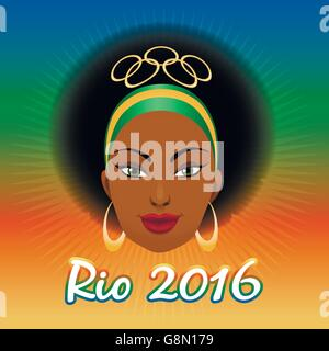 Rio Olympic Games Emblem with woman face against colorful festive background. - Stock Photo