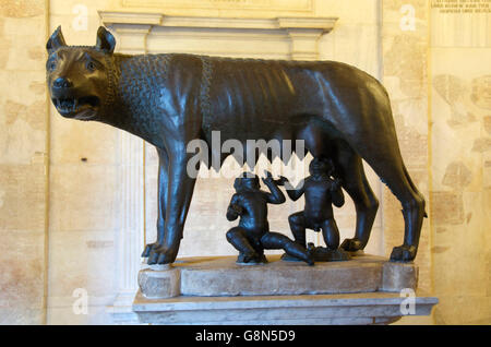 Etruscan bronze statue of the she-wolf with Romulus and Remus, Capitoline Museum, Capitoline Hill, Rome, Italy, - Stock Photo
