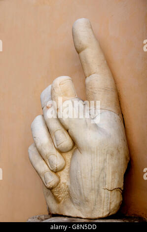 Hand with pointing index finger, statue of Constantine, Palazzo dei Conservatori, Capitoline Museums, Rome, Italy, - Stock Photo