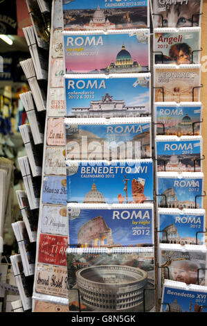 Postcards in a rack, Rome, Lazio, Italy, Europe - Stock Photo