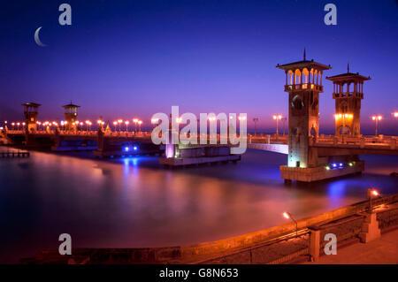 Alexandria Stanly Bridge at Dusk over The Sea - Stock Photo