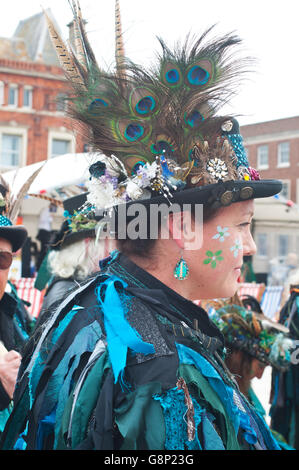 Lady morris dancer in costume. Lodestone Border morris at Exmouth festival. - Stock Photo