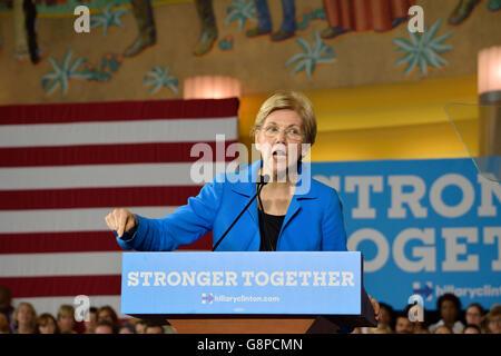 U.S. Senator Elizabeth Warren speaks at a campaign rally for Democratic U.S. Presidential candidate Hillary Clinton. - Stock Photo