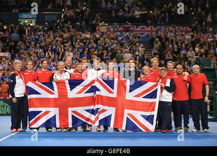 Great Britain v Japan - Davis Cup - Day Three - Barclaycard Arena - Stock Photo