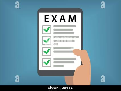 Passed online exam and test concept with hand holding smart phone - Stock Photo
