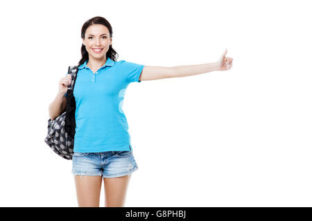 Travel concept. Portrait of stylish beautiful young woman isolated on white background. Woman with backpack smiling, - Stock Photo