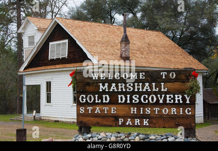 Coloma California famous Marshall Gold Discovery State Park where gold was first discovered in 1885 - Stock Photo