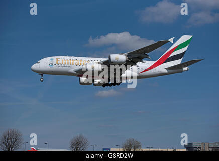 Airbus A 380-861 Registration A6-EEB Passenger Airliner coming in to London Heathrow.  SCO 10,478. - Stock Photo