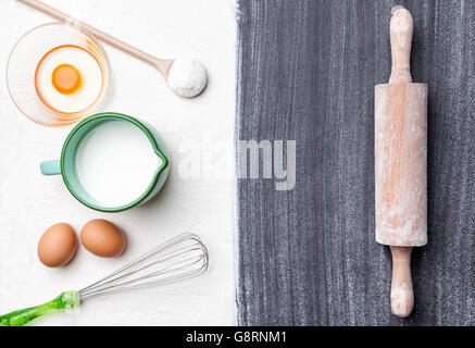 Baking and cooking concept, variety of ingredients and utensils with copyspace - Stock Photo