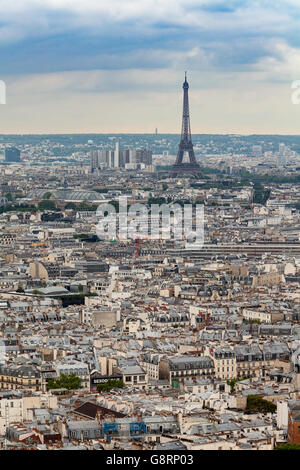 Wide angle view of Paris, France - Stock Photo