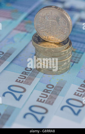 Brexit concept and Euro zone, monetary union, single market represented by some 20 Euro banknotes and old style - Stock Photo