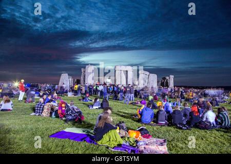 Sunrise at The Summer Solstice Stonehenge UK - Stock Photo