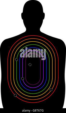 A shooting range target, figure with curved rectangles of decreasing size in colours of the rainbow - Stock Photo