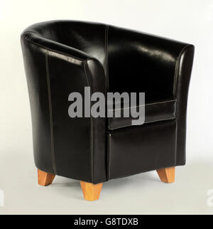 ... Single Black Leather Tub Chair On White Background   Stock Photo