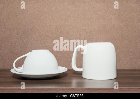 White coffee cup in kitchen cabinet, Still life style - Stock Photo