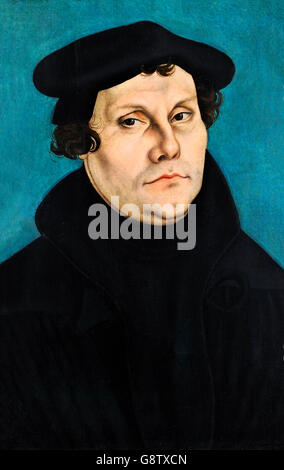 Martin Luther (1483-1546), portrait by Lucas Cranach the Elder, oil on panel, 1528. - Stock Photo