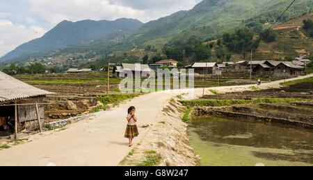 Little Vietnamese girl walking alone in a small road among rice paddies in North Vietnam countryside. - Stock Photo