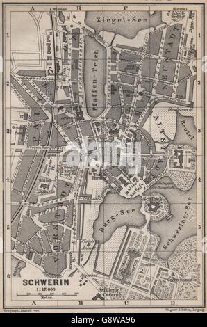 SCHWERIN antique town city stadtplan. Mecklenburg-Vorpommern karte ...