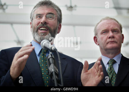 Sinn Fein's President Gerry Adams speaking at a press conference at the Waterfront hall, Belfast, Monday September 26, 2005. The IRA has put all of its weapons beyond use, the head of the arms decommissioning body has said. General John de Chastelain made the announcement at a news conference accompanied by the two churchmen who witnessed the process. See PA Story ULSTER Politics. PRESS ASSOCIATION Photo. Photo credit should read: Paul Faith/PA.