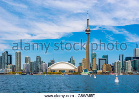 Toronto, Canada, CN Tower and the city skyline as seen from Lake Ontario. - Stock Photo