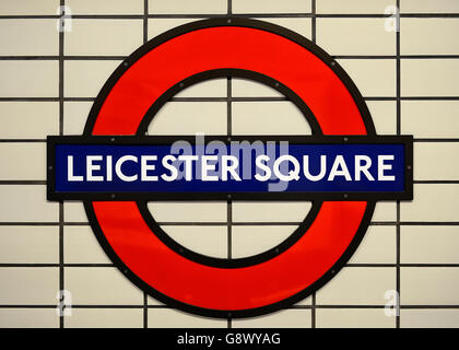 London Underground Symbol For Leicester Square Station Against White
