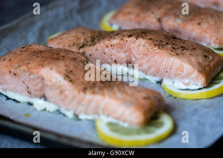 Slow-baked salmon slices are photographed right after they came out of the oven. - Stock Photo