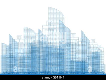 Outline City Skyscrapers in Blue Color. Vector Illustration. Business and Tourism Concept for Presentation, Placard, - Stock Photo