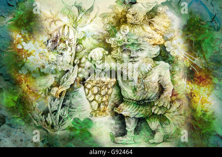 drawing of garden dwarf with lantern and healing herbs. - Stock Photo