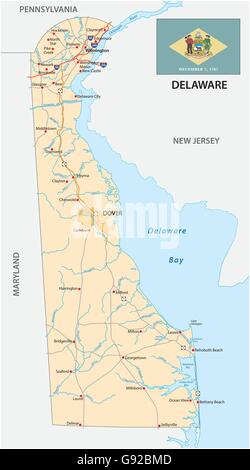 road map of the US state delaware with flag - Stock Photo