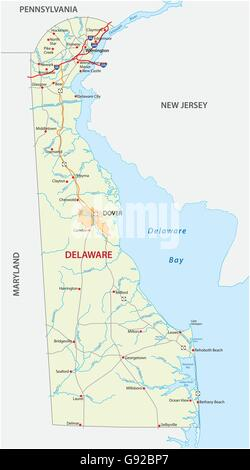 road map of the US state delaware - Stock Photo