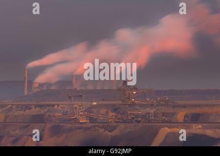 Brown coal strip mining Garzweiler, power plant, North Rhine-Westphalia, Germany / opencast mining - Stock Photo