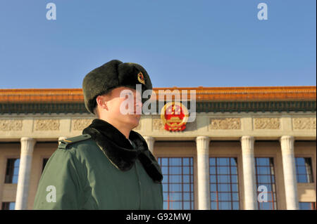 BEIJING, DECEMBER 14, 2010; Sentry in front of The Great Hall of the People , ( National Congress ) - Stock Photo