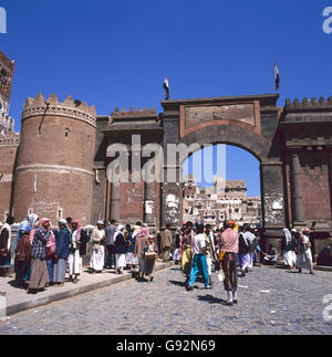 SANA'A,YEMEN-MARCH 03,2003 - The main gate to the old city in the capital of Yemen - Stock Photo
