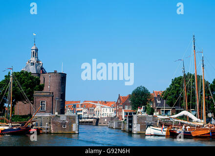 View at the old Harbor of Enkhuizen in the Netherlands - Stock Photo