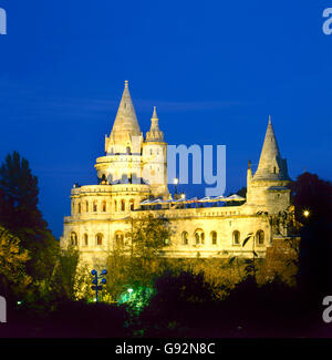 Fishermen's Bastion by night in Budapest , Hungary - Stock Photo