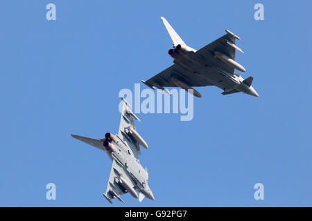 German Air Force EF2000 Eurofighter's flyby during the exercise Frisian Flag. - Stock Photo
