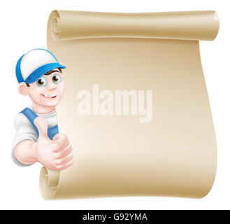 A cartoon mechanic, plumber, handyman, decorator or gardener leaning around a scroll and giving a thumbs up - Stock Photo