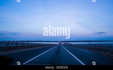 empty 8-lane highway due to road - Stock Photo